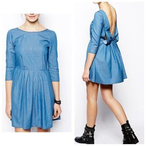 ASOS denim blue Bow Back Smock Dress, Size 4